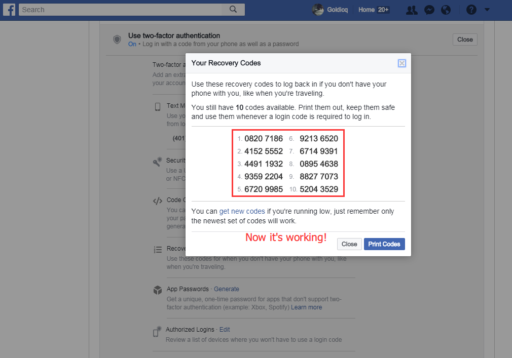 www.facebook recovery code